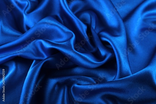 Beautiful blue silk fabric texture background Canvas Print