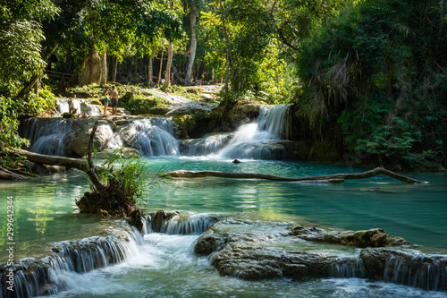 Foto auf Leinwand Schwarz Turquoise water of Kuang Si waterfall, Luang Prabang, Laos. Tropical rainforest. The beauty of nature.