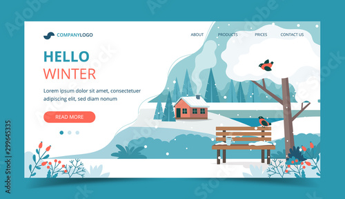 Foto auf Gartenposter Weiß Hello winter, landscape with cute bench in the park. Landing page template. Vector illustration in flat style