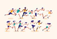 Women And Men Running Vector Design