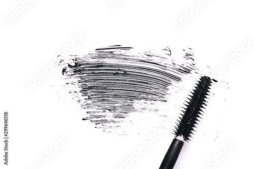 Mascara brush with mascara stroke on white background Canvas Print