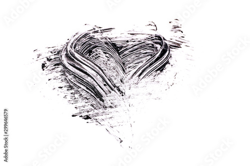 Mascara stroke in shape of heart on white background Canvas Print