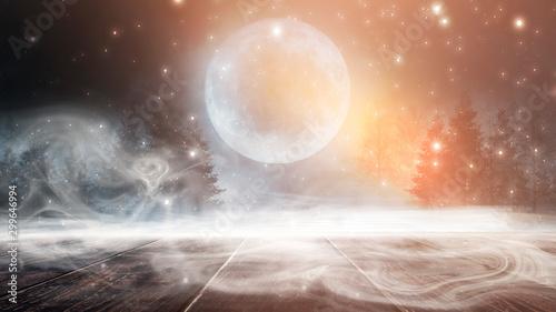 Montage in der Fensternische Lachs Dark forest. Gloomy dark scene with trees, big moon, moonlight. Smoke, shadow. Abstract dark, cold street background. Night view. Night wooden table.