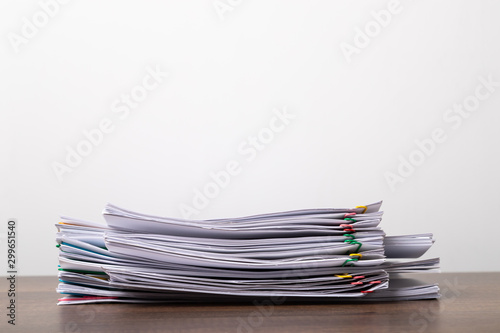Stack of overload document paper with copy space. Wallpaper Mural