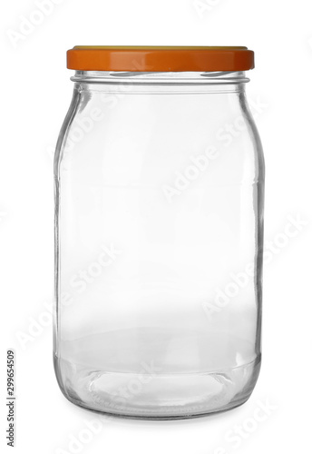 Glass jar for pickled food on white background Poster Mural XXL