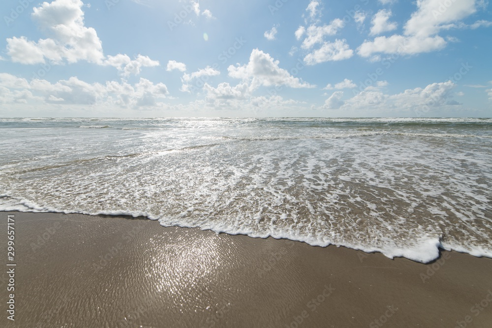 Fototapeta Beautiful shot of the ocean reaching its sandy shore and the bright calm sky in the background