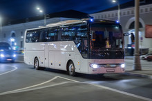 Tourist Bus Moves At Night On ...