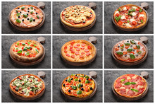 Collage With Different Pizzas ...