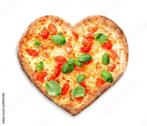 Delicious heart-shapped pizza on white background Wallpaper Mural