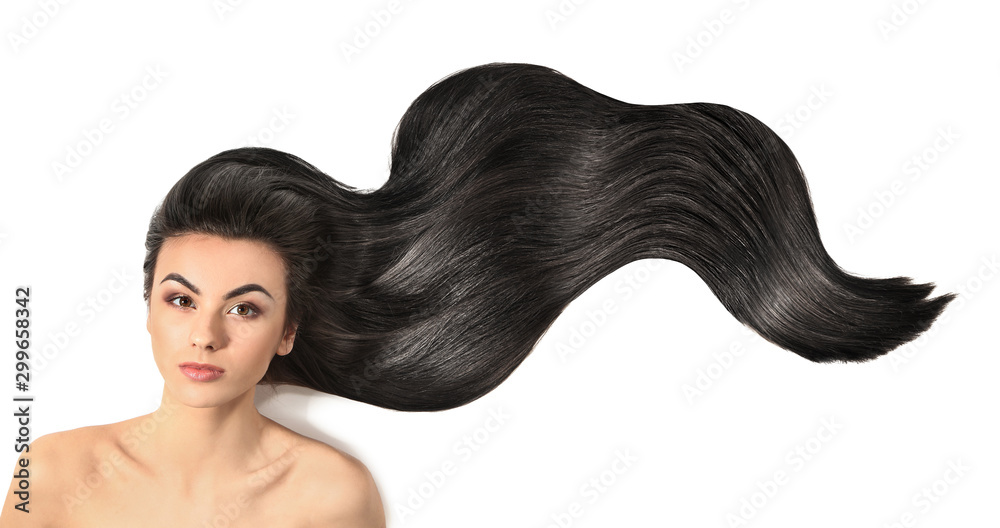 Fototapety, obrazy: Portrait of beautiful young woman with healthy long hair on white background