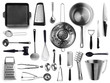 Leinwandbild Motiv Set of metal kitchen utensils on white background