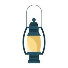 Camping Lantern Icon, Flat Des...
