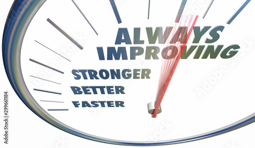 Cuadros en Lienzo Always Improving Faster Stronger Better Speedometer Words 3d Illustration