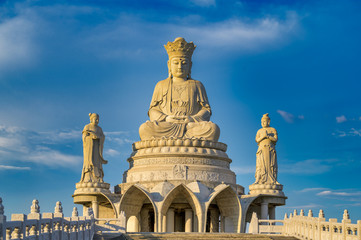 Fototapeta na wymiar Ramintra Road, Bangkok, Thailand - October 27, 2019 :Shiv Temple  - Guanyin Statue