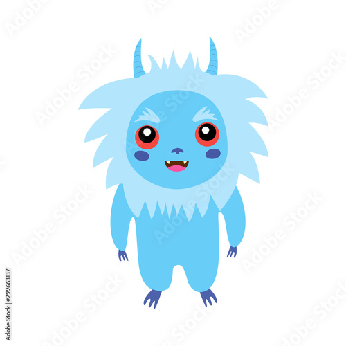 Sute Little Fluffy Monster Isolated White Bacground Fancy Beast Background Vector Illustration Funny Yeti Buy This Stock Vector And Explore Similar Vectors At Adobe Stock Adobe Stock