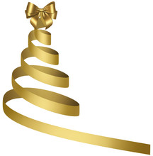Abstract Christmas Tree With Golden Ribbon And Bow