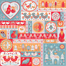 Patchwork  Style. Pattern Of 16 Decorative Square Ornaments In Blue-orange Colors.