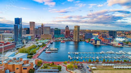 Photo Baltimore, Maryland, USA Inner Harbor Skyline Aerial Panorama