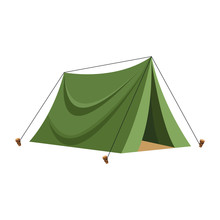 Camping Tent Icon, Flat Design