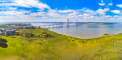 Charleston, South Carolina, USA Drone Bridge Aerial