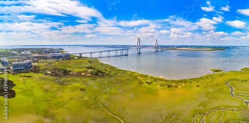 Charleston, South Carolina, USA Drone Bridge Aerial