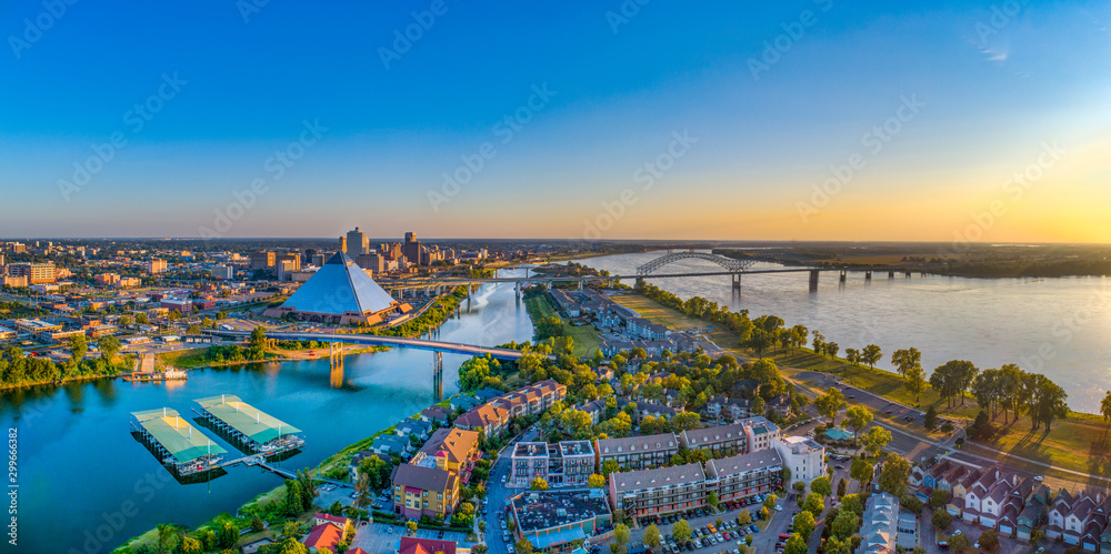 Fototapeta Memphis Tennessee TN Downtown Drone Skyline Aerial