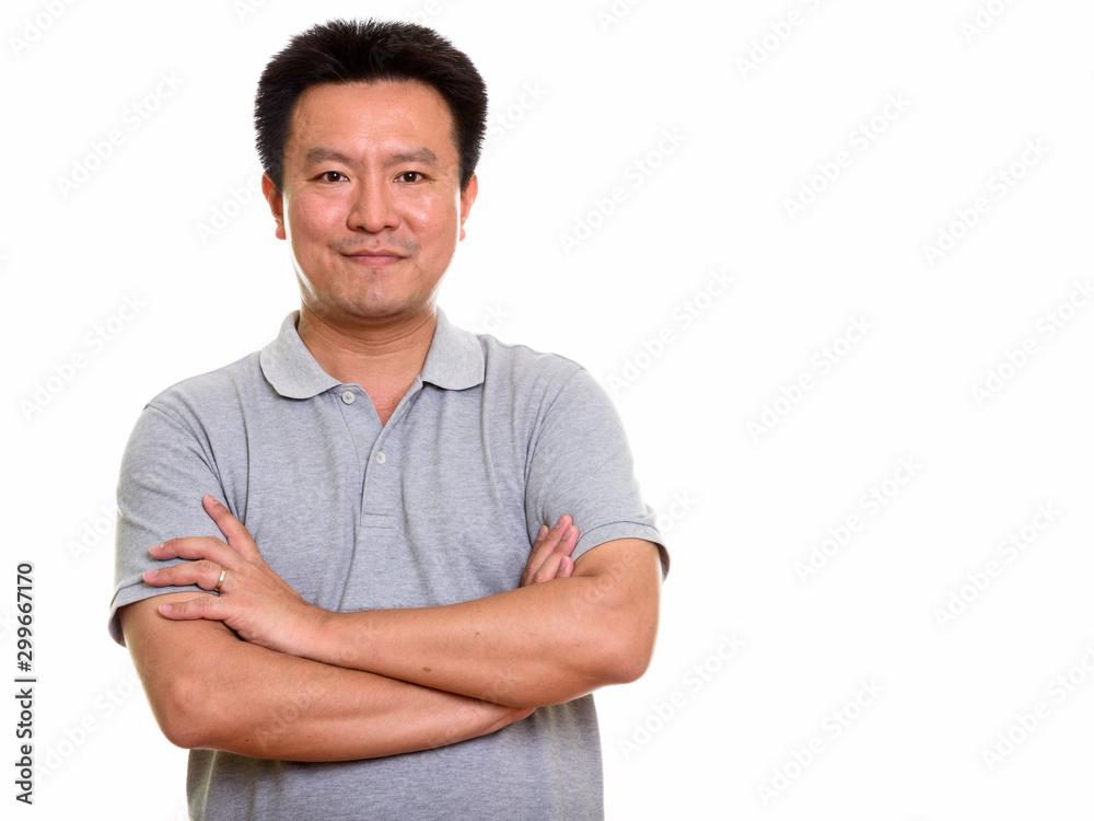 Fototapety, obrazy: Studio shot of Japanese man isolated against white background