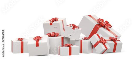 Fotografía  packed gifts. festive postal packages 3d-illustration
