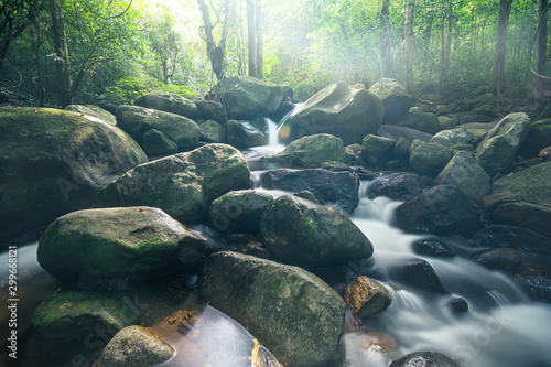 Garden Poster Forest river Natural scenery forests waterfalls Khlong Pla Kang