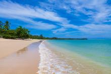 Pristine White Sandy Beach With Aqua Blue Sea In Khao Lak Close To Phuket Island On The Andaman Coast, Phang Nga Province, Thailand.