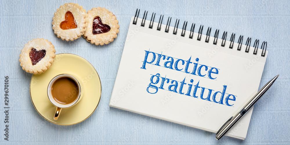 Fototapeta practice gratitude inspirational text in sketchbook