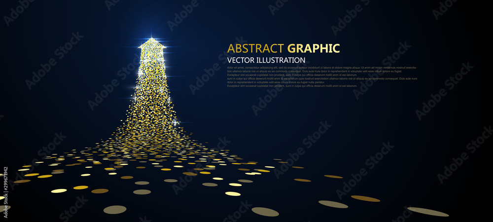Fototapety, obrazy: An arrow of golden particles, business concept,vector illustration.