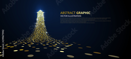 Obraz An arrow of golden particles, business concept,vector illustration. - fototapety do salonu