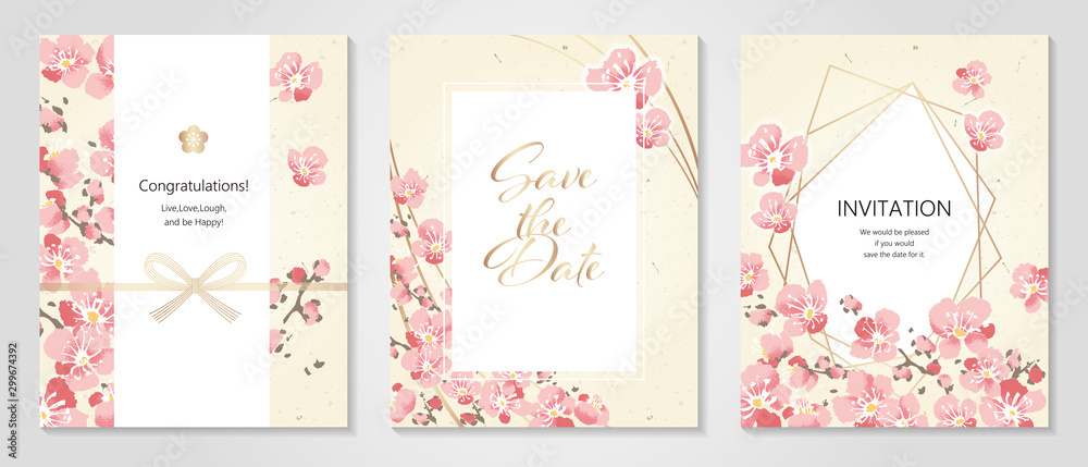 Fototapeta Vector illustration Japanese paper of plum/Anniversary Invitation / Celebration Card Set