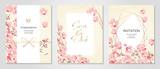 Fototapeta Kwiaty - Vector illustration Japanese paper of plum/Anniversary Invitation / Celebration Card Set