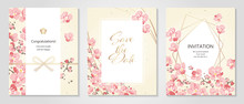 Vector Illustration Japanese Paper Of Plum/Anniversary Invitation / Celebration Card Set