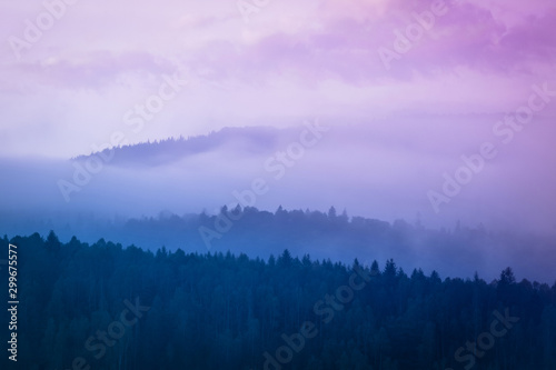 Foto auf Gartenposter Flieder Lanscape photo of wood mountain hills with foggy morning sky.