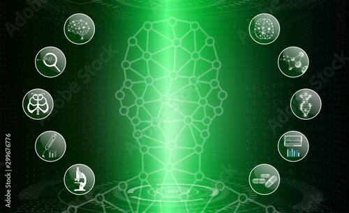 abstract background technology concept in green light,human body heal,technology Canvas Print