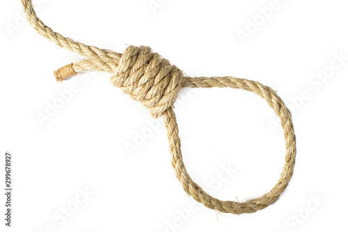 Fotografija Noose tied in natural Sisal Rope, isolated high key.