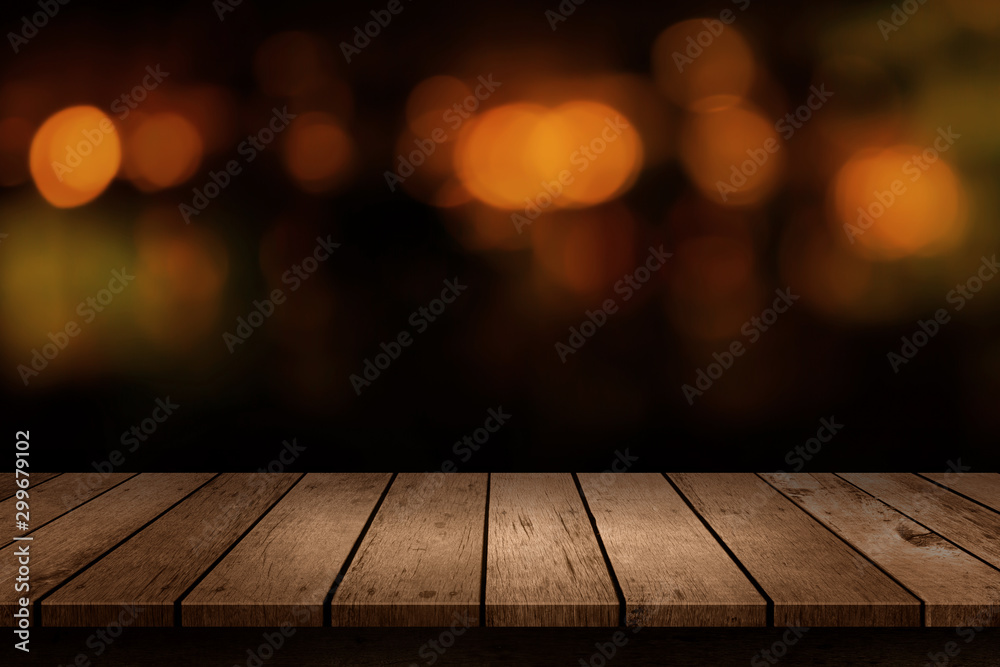 Fototapety, obrazy: Wooden table with a view of blurred beverages bar backdrop. Blur cafe and restaurant with abstract bokeh light background. For create montage product display