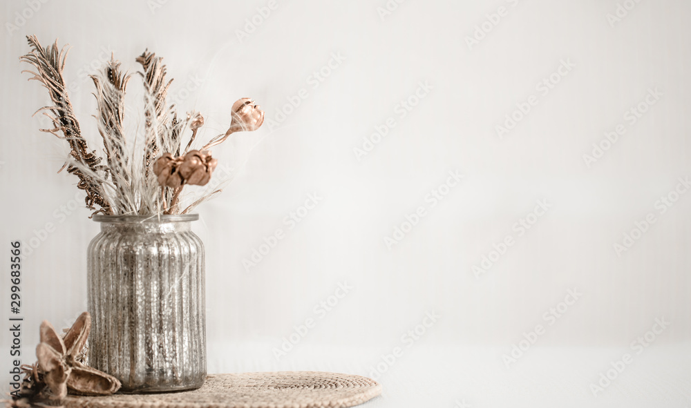 Fototapety, obrazy: Still life beautiful vase with dried flowers .