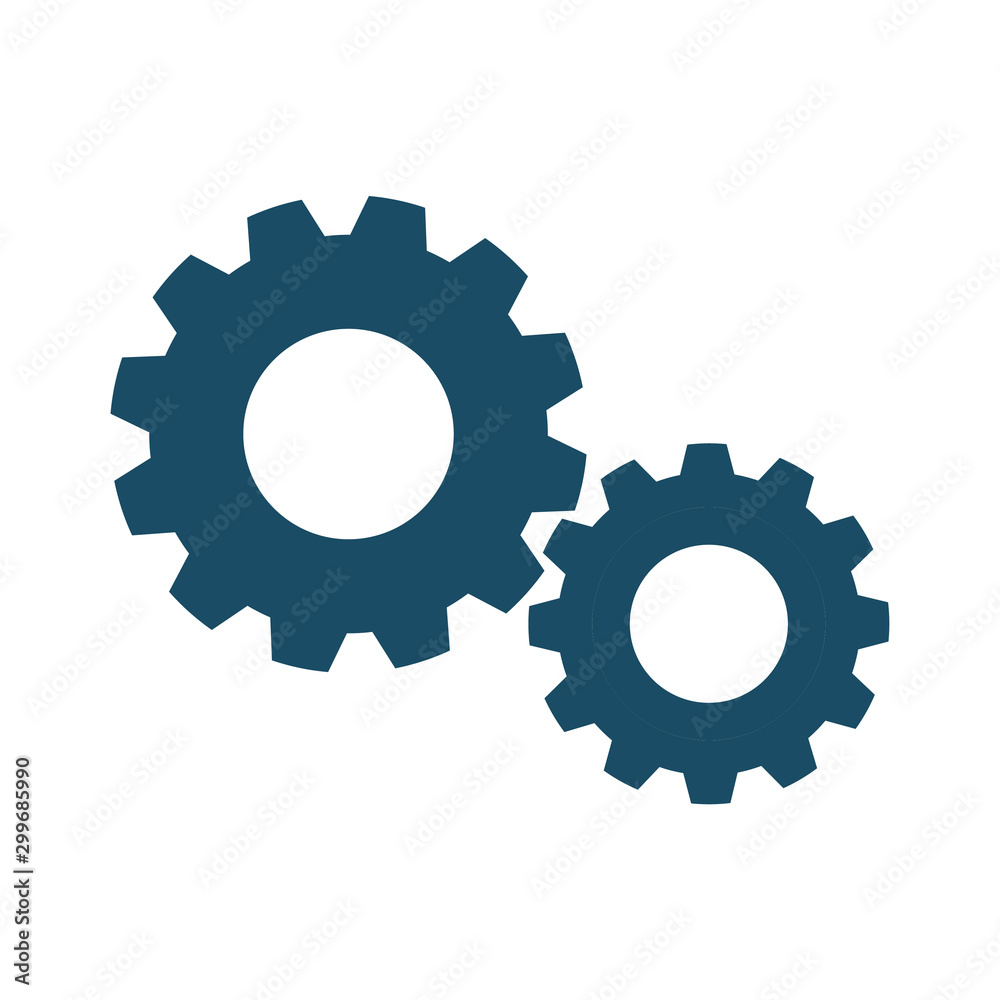 Fototapety, obrazy: High quality dark blue flat gear icon for web site designs, mobile apps and social media posts.