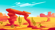 Desert Arch On Natural Background Of Hot Desert Landscape With Yellow Sand And Dry Tumbleweed, Red Mountains, Blue Sky With Light Clouds And Green Cacti, Wild West Cartoon Banner
