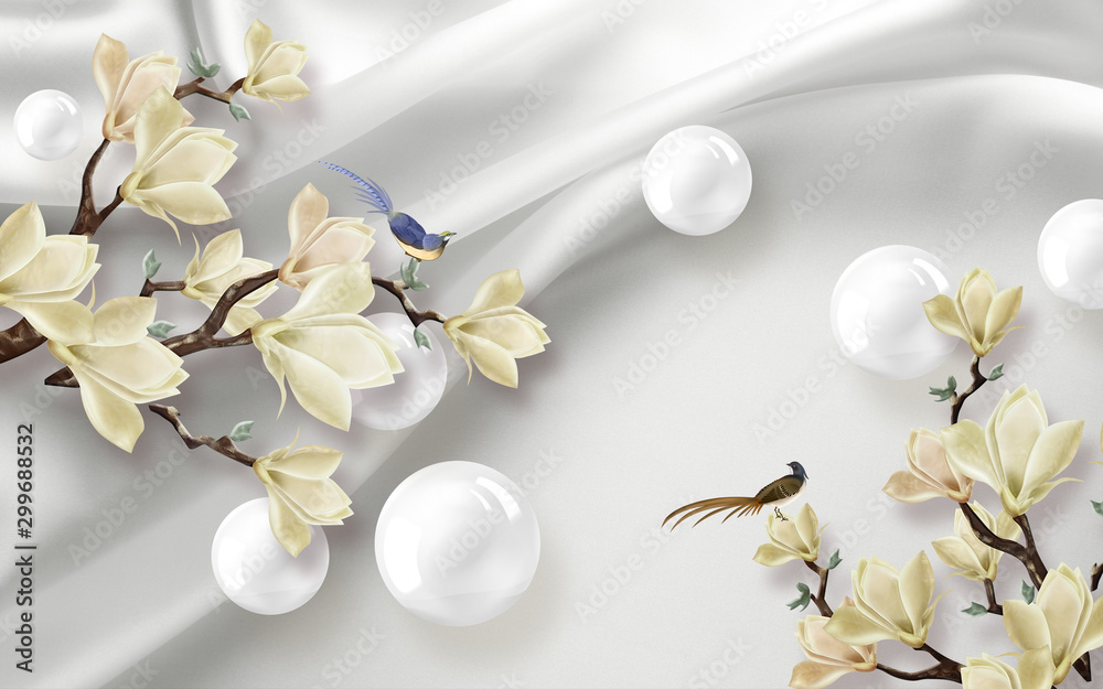 Fototapety, obrazy: 3d illustration, white fabric background, white shiny balls, large magnolia flowers