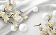 3d illustration, white fabric background, white shiny balls, large magnolia flowers