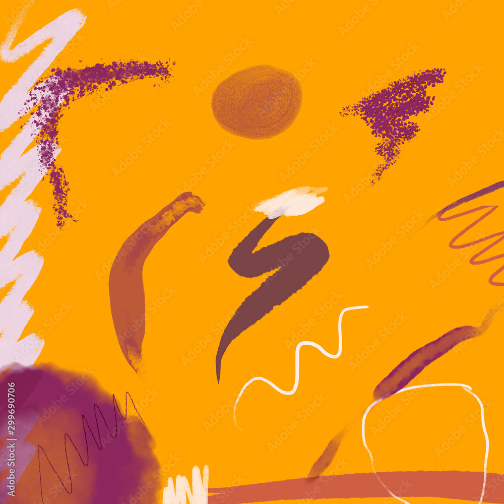 Abstract creative background with Colorful shapes and textures. Freehand contemporary composition. Impressionism modern art for poster, banner, card, flyers