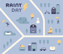 Map Of The Town On A Rainy Day...