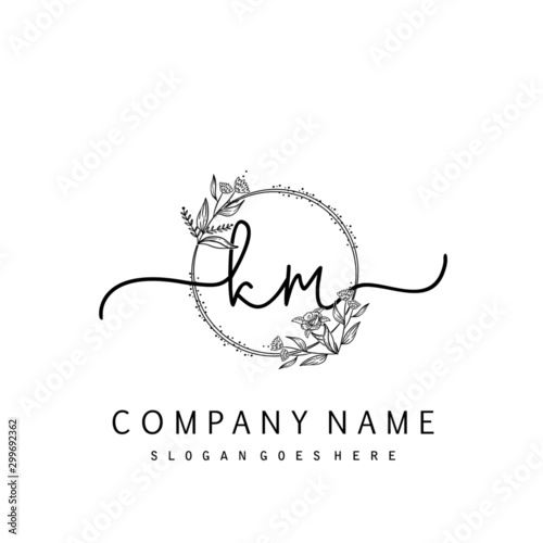 Initial Km Beauty Monogram And Elegant Logo Design Handwriting Logo Of Initial Signature Wedding Fashion Floral And Botanical With Creative Template Buy This Stock Vector And Explore Similar Vectors At Adobe