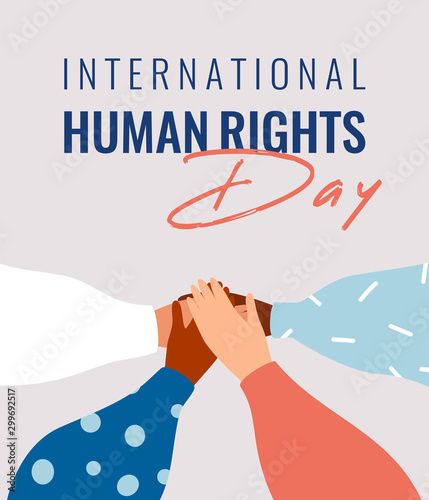 Four human hands support each other on the International Human rights day Wallpaper Mural