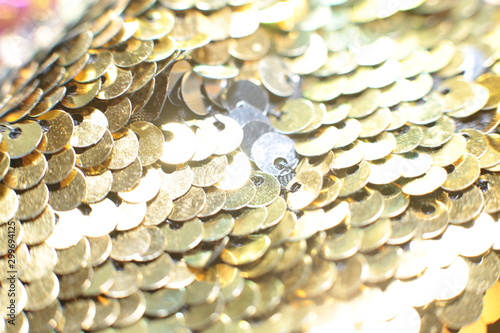 Sparkling holiday macro background of bright shiny sequins and lusters Canvas Print